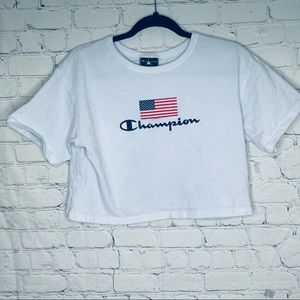 Champion white cropped tee with American flag